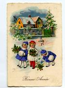 A 18841   -   Bonne Année  -  Fillettes Elégantes  -  Manchons, Bouquets ....... - Nouvel An
