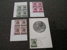 """BELG.1956 991-993 ** Serie """" ELISABETH """" BLOCS DE/VAN 4 +  991 Souvenirdcard FDC - Belgien"""