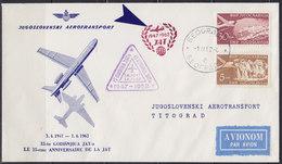 Yugoslavia 1962 Yugoslav Airlines (JAT) 15 Years Since Founding, Jubilee Red Petit Cachet, Commemorative Airmail Cover - Luftpost