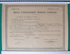 Brevet D'Enseignement Primaire Supérieur - Académie De Paris - Département De La Seine - Année 1945 - Diplômes & Bulletins Scolaires