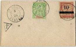 !!! SENEGAL : N°21 ET TAXE N°3 OBLIT ST LOUIS 1904 SUR LETTRE PETIT FORMAT NON VOYAGEE - Sénégal (1887-1944)