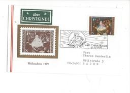 16033 - Christkindl Cover 24.12.1979 Pour Baden Schweiz + Vignette über Christkindl - Noël