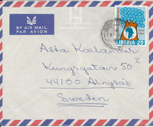 Liberia Air Mail Cover Sent To Sweden 1970 MAP On The Stamp - Liberia