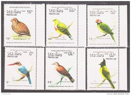 Laos 1988 Mi 1082-1087 Birds / Vögel **/MNH - Zangvogels