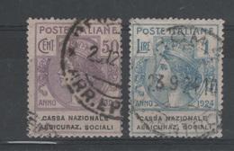 1924 Enti Parastatali Cassa Nazionale Ass. Soc. 50 C. 1 L. - 1900-44 Vittorio Emanuele III