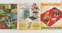 DÉPLIANT NOUVEAU JEU DE PUZZLE CHOCOLAT MENIER N°4 LA RÉCOLTE DU CACAO - Autres Collections