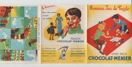 DÉPLIANT NOUVEAU JEU DE PUZZLE CHOCOLAT MENIER N°5 AU TEMPS DES DILIGENCES - Autres Collections