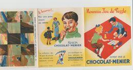 DÉPLIANT NOUVEAU JEU DE PUZZLE CHOCOLAT MENIER N°8 AU-DESSUS DE LA CORDILLIÈRE DES ANDES - Autres Collections