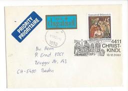 16054 - Christkindl Cover 13.12.2000 + Vignettes Priority Et über Chriskindl Pour Baden CH - Noël