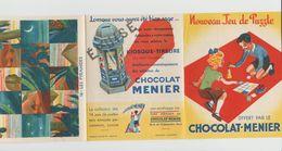 DÉPLIANT NOUVEAU JEU DE PUZZLE CHOCOLAT MENIER N°14 LES PYRAMIDES - Autres Collections