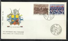 ITALIA REPUBBLICA ITALY REPUBLIC 1964 FONDAZIONE DELL'ARMA DEI CARABINIERI SERIE COMPLETA COMPLETE SET FDC ROMA - 6. 1946-.. Repubblica