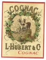 étiquette Ancienne Vernie COGNAC L HUBERT & C (thème Animaux Lama) Excellent état - Etiquettes