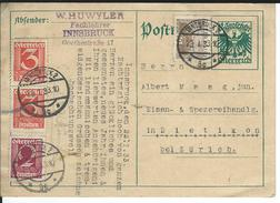 Innsbruck 23.1.33 Nach Zürich - Postwaardestukken