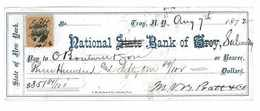 MANDAT CHEQUE BANQUE ETATAS UNIS STATE OF NEW YORK 1872 NATIONAL STATE BANK OF TROY - United States