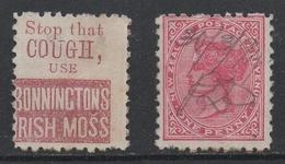PHARMACIE - MEDICAMENTS - TOUX /1890's NOUVELLE ZELANDE PUBLICITE IMPRIMEE AU VERSO DU TIMBRE (ref 7329i) - Pharmacy