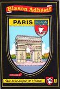 CPM – PARIS (75) - ARC DE TRIOMPHE - BLASON ADHÉSIF - Monuments