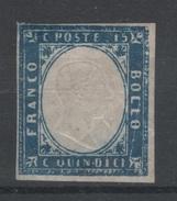 1863 Effigie Vittorio Emanuele II 15 C. Non Dentellato MLH Firmato Diena - Ungebraucht