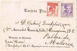 20590. Tarjeta BARCELONA 1943. Sello Recargo Exposicion Barco De Colon - Barcelona