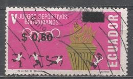 Ecuador 1967. Scott #766D (U) Torch And Athletes (Soccer) * - Equateur