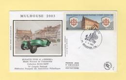 Vignette D Affranchissement - 76e Congres - Mulhouse - 2003 - FDC - 1er Jour - 1999-2009 Viñetas De Franqueo Illustradas