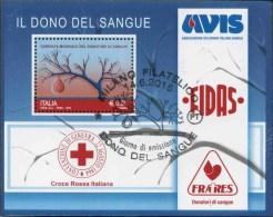 2015 Italia, A.V.I.S. Croce Rossa Italiana FIDAS FRARES Domazione Sangue, Foglietto Con Annulli Ufficiali - 6. 1946-.. Republic