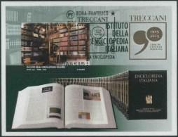 2015 Italia, Enciclopedia Treccani, Foglietto Con Annullo Ufficiale - Blocs-feuillets