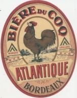 étiquette  - Biere Du Coq Atlantique -  La Biere Du Coq - BORDEAUX - Whisky