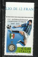 ITALIA REPUBBLICA ITALY REPUBLIC 2009 2010 CAMPIONATO DI CALCIO LO SCUDETTO ALL´INTER MNH - 6. 1946-.. Republic