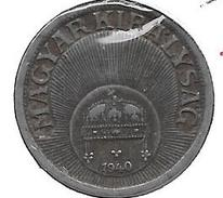 *hungaria 10 Filler 1940   Km 507a    Xf+ - Hongrie