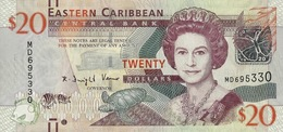 EAST CARIBBEAN STATES 20 DOLLARS ND (2012) P-53 UNC WITH MARKS FOR THE BLIND [ECS237a] - East Carribeans