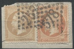 Lot N°33696   Variété/n°21 Et N°23/fragment, Oblit GC 2578 FALLON(69), Ind 20 Ou MULHOUSE(66),ind 1, Filet NORD Doublé S - 1862 Napoleon III