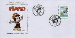 FRANCE 2010 Lettre Hommage L. BOTTARO Dessinateur PEPITO + Cachet 1er Jour + Timbre Personnalisé 01 Bédé Strip Fumetti - Comics