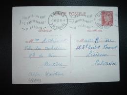 CP ENTIER PETAIN 1F20 OBL.MEC.1 VIII 42 CANNES (06) CELEBREZ LE 30 AOUT L'ANNIVERSAIRE DE LA LEGION - Marcophilie (Lettres)
