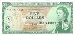 EAST CARIBBEAN ANTIGUA 5 DOLLARS ND (1983) P-14i UNC OVERPRINT A S/N D13 246849  [ECS102ca] - Caraïbes Orientales