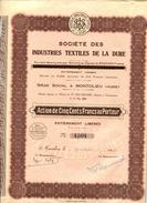 Montolieu (Aude) 1929 Sté IndustriesTextiles De La Dure Action De 500 Fr Au Capital De 2.5 Millions Fr Sur 5000 Actions - Textile