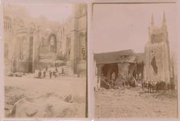 N° 422 - 2 Photos - Guerre 1914-18 - BELGIQUE - Bataille D'Ypres - Les Ruines - Guerre, Militaire