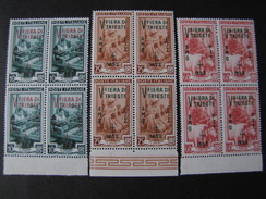 "ITALIA Trieste AMG-FTT -1953- ""Fiera Trieste"" Cpl. 3 Val. Quartina MNH** (descrizione) - Ungebraucht"