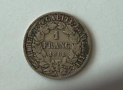 FRANCE 1 Franc 1888 A  - Silver, Argent - France