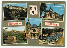 THOUARS -- Multivues (chateau,église,pont,chapelle Et Piscine Animée)blason Raisin,vin,cpsm 1 N°101 éd Artaud...à Saisir - Thouars