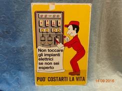 """VECCHIO CARTELLO SEGNALETICO IN METALLO """"NON TOCCARE GLI IMPIANTI ELETTRICI"""" - Reclameplaten"""