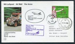 1986 Pilipinas Manila First Flight Lufthansa Postcard - Abu Dhabi UAE - Philippines