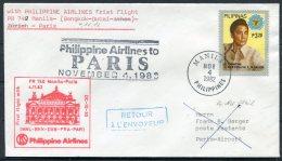 1982 Pilipinas Manila First Flight Lufthansa Cover - Paris France - Philippines