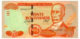 BOLIVIA 20 BOLIVIANOS 1986(2015) SERIES J Pick 229 Unc - Bolivia