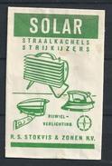 Suikerzakje.- R.S. Stokvis En Zonen N.V. - SOLAR. Straalkachels, Strijkijzers, Rijwielverlichting. 2 Scans - Sucres