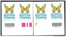 Italia 2016; Giornata Della Filatelia Con Farfalla Macaone. Due Coppie A Barre Opposte. - 6. 1946-.. Repubblica