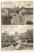 Rare Selten BROMBERG Theaterplatz Einst + Jetzt Tramway Allemagne Voyagée 1906 - Germany