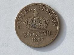 FRANCE 50 Centimes 1867 A  - Silver, Argent Cent Centime - G. 50 Centimes