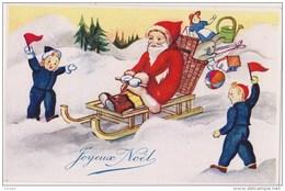 """Illustrateur  """"joyeux Noël """" Père Noël  En Luge,enfants,jouets(poupée,ballon,arrosoir,),Neuve A D I A  Nice - Christmas"""