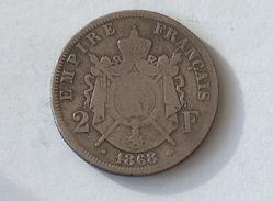 FRANCE 2 Francs 1868 BB  - Silver, Argent Franc - France