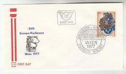 1977 Austria FDC HERALDIC EUCEPA  PAPER INDUSTRY CONFERENCE  Stamps SPECIAL Pmk  Cover Illus Paper Making Machine - FDC